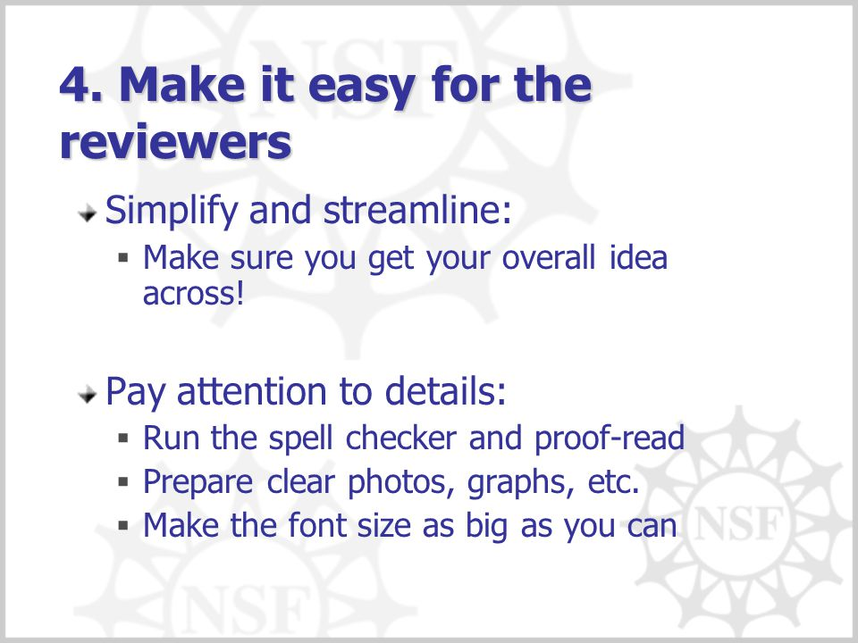 4. Make it easy for the reviewers