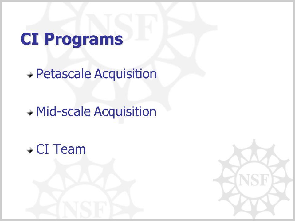 CI Programs Petascale Acquisition Mid-scale Acquisition CI Team