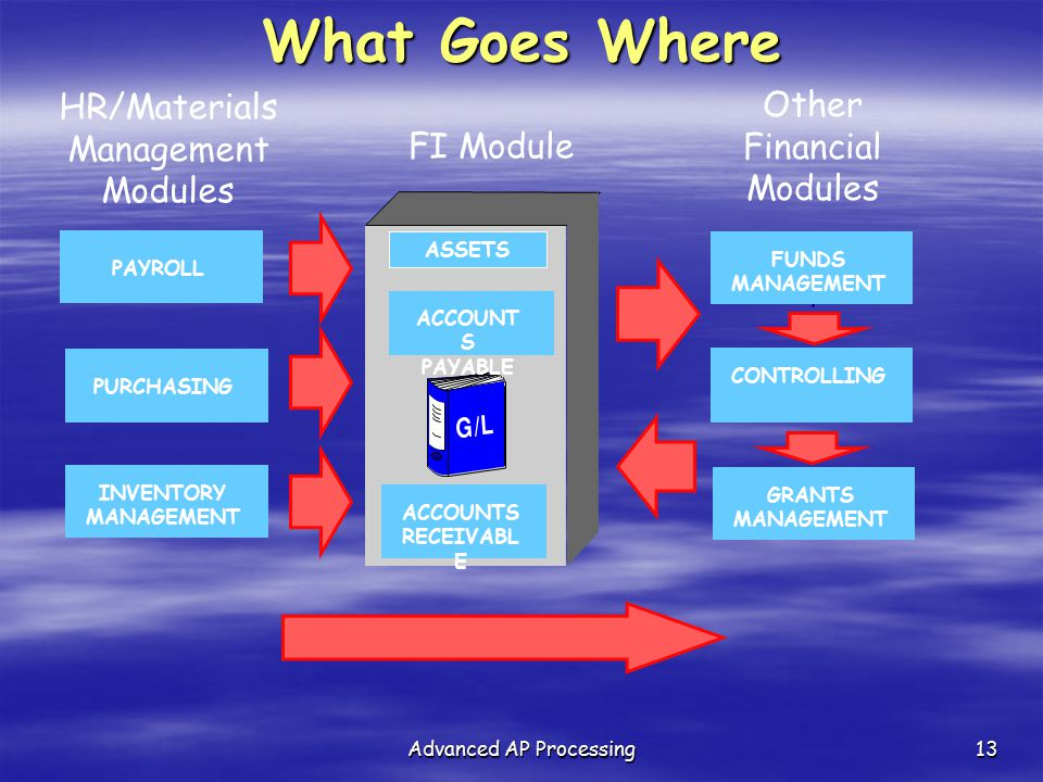 What Goes Where HR/Materials Other Financial Modules