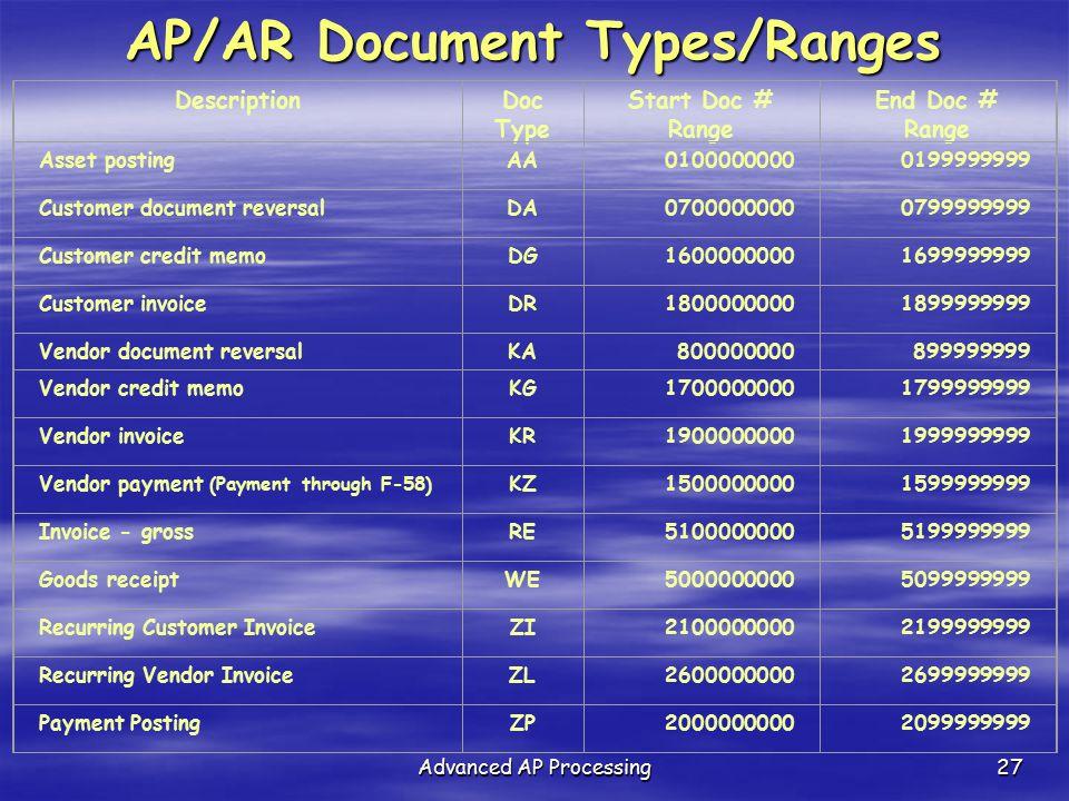 AP/AR Document Types/Ranges
