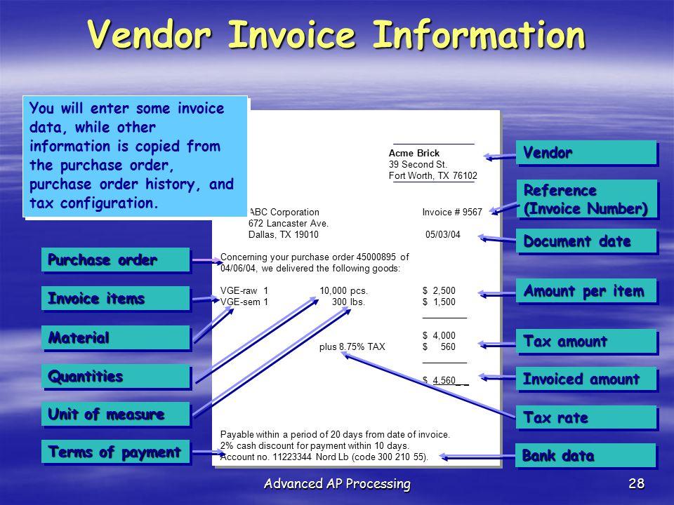Vendor Invoice Information