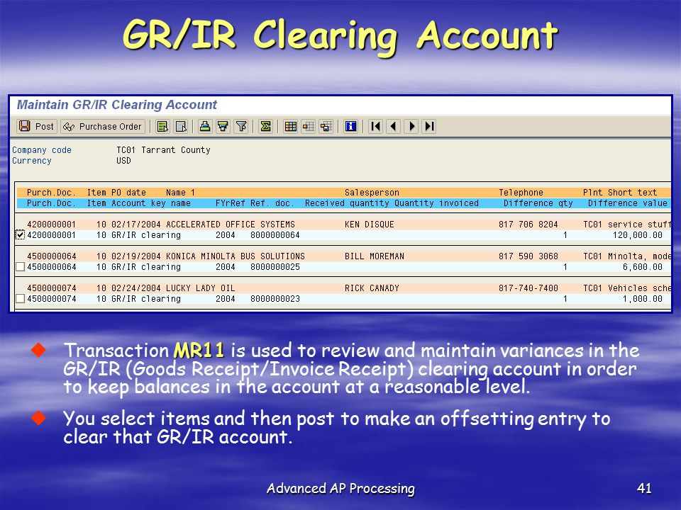 GR/IR Clearing Account