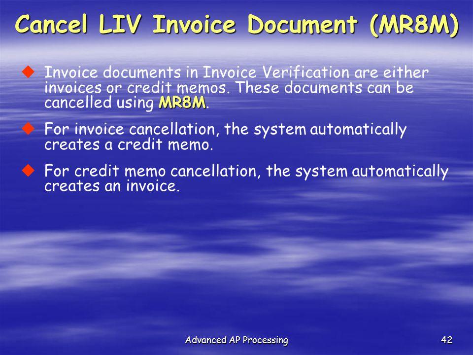 Cancel LIV Invoice Document (MR8M)