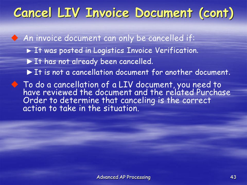 Cancel LIV Invoice Document (cont)