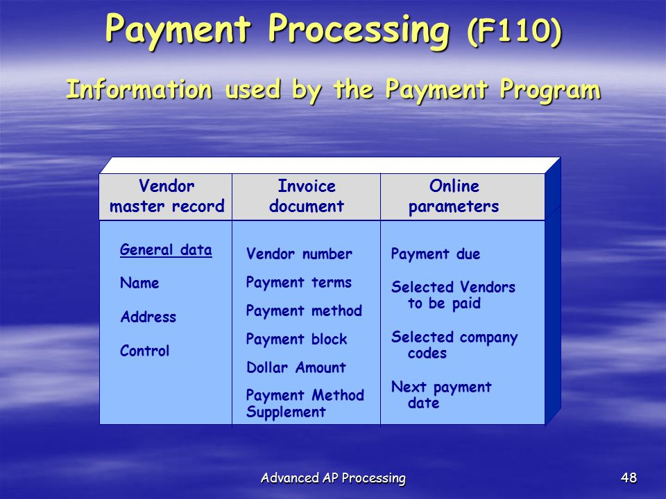 Payment Processing (F110) Information used by the Payment Program