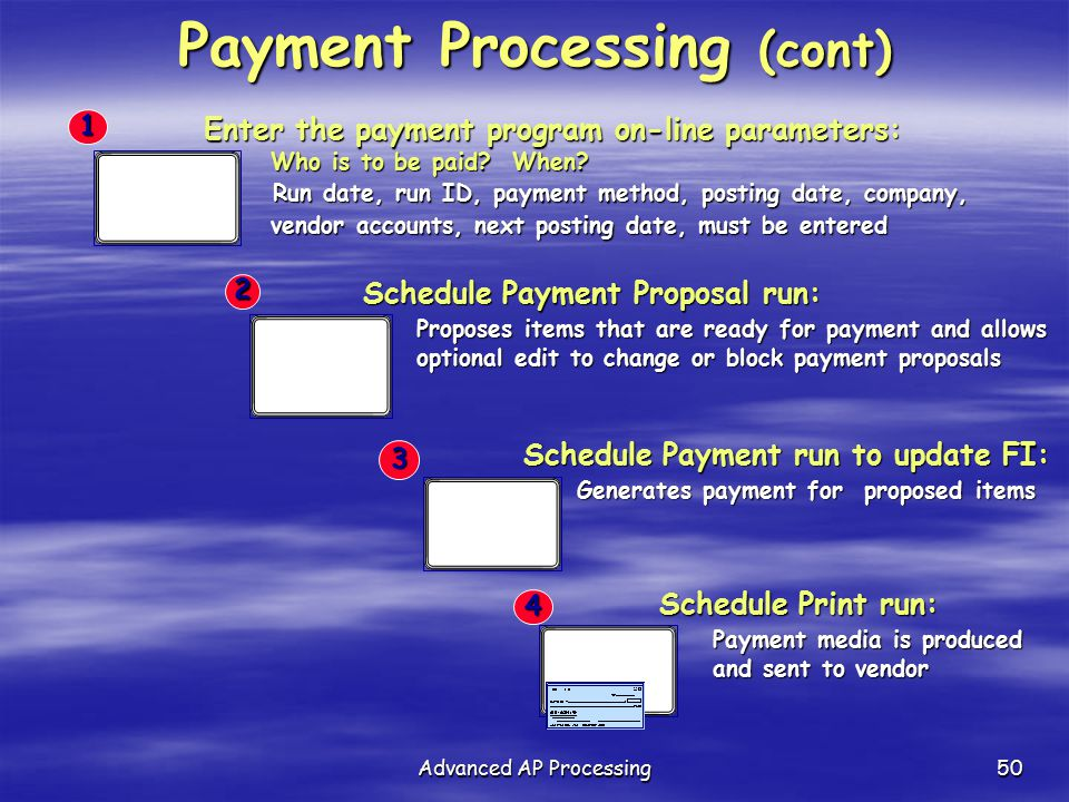 Payment Processing (cont)