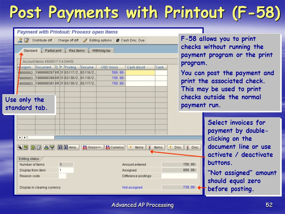 Post Payments with Printout (F-58)