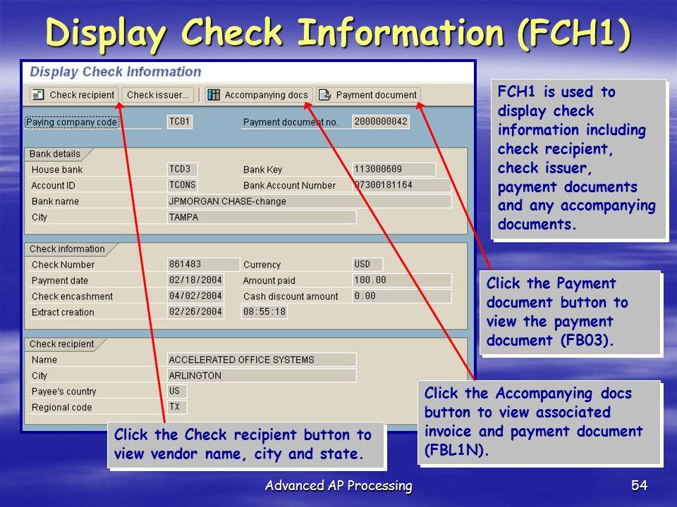 Display Check Information (FCH1)