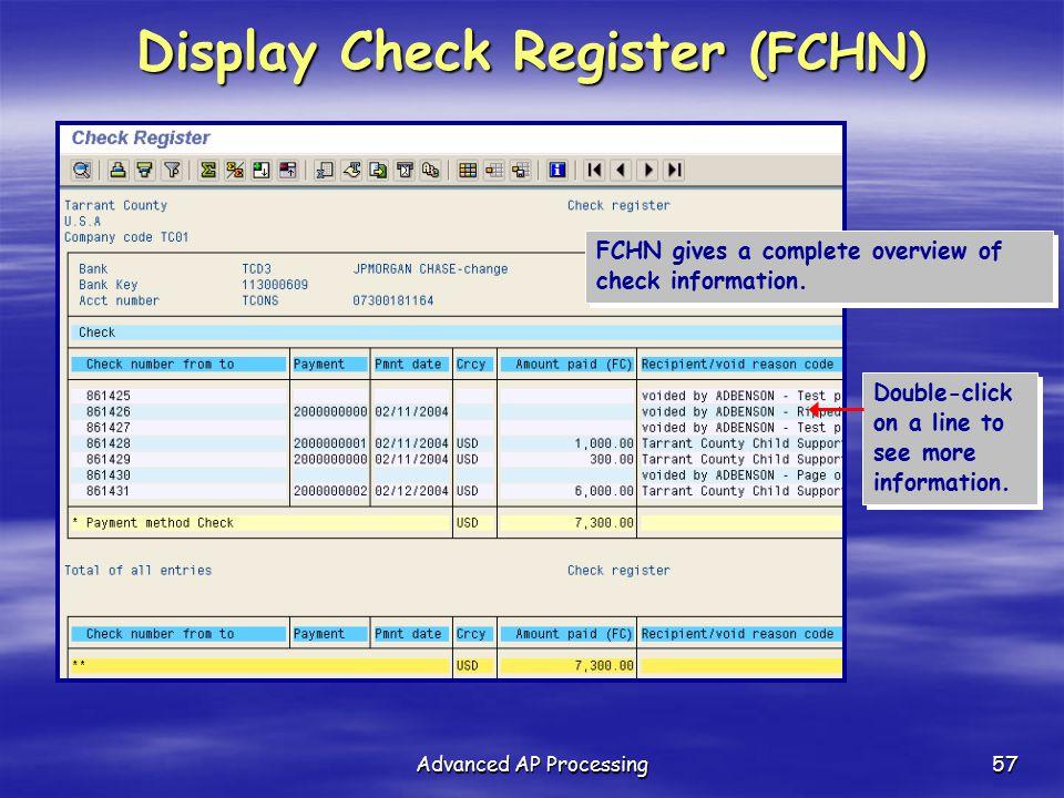 Display Check Register (FCHN)