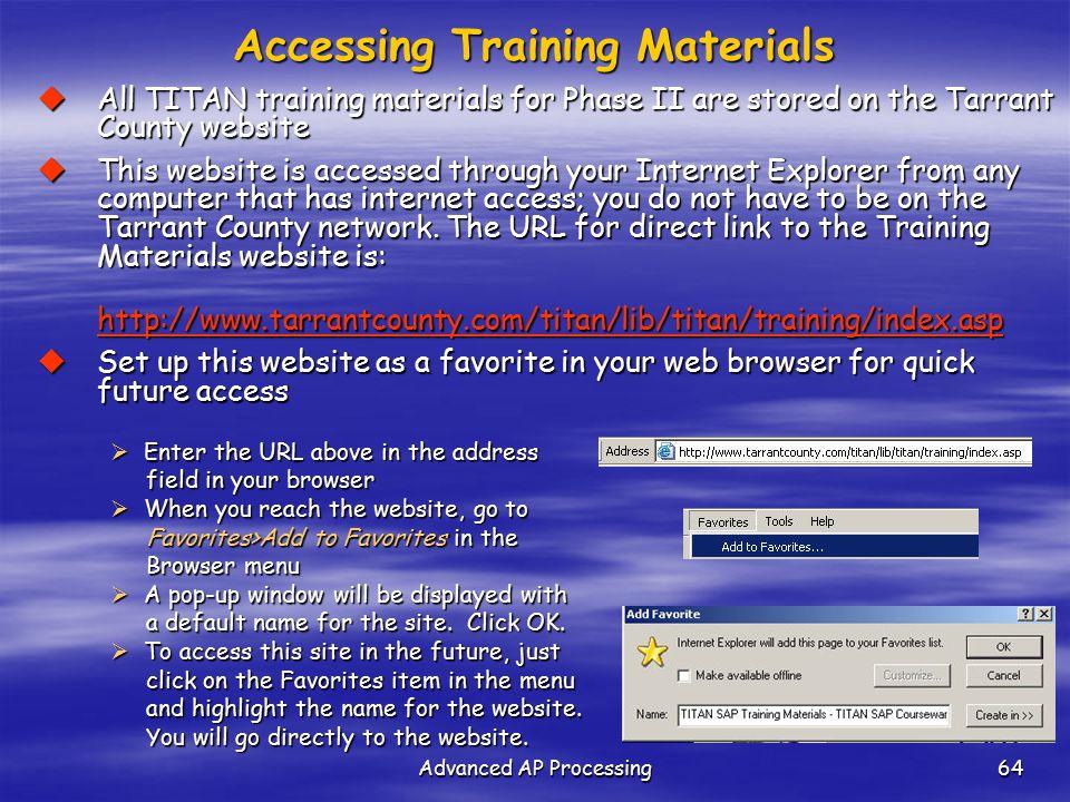 Accessing Training Materials