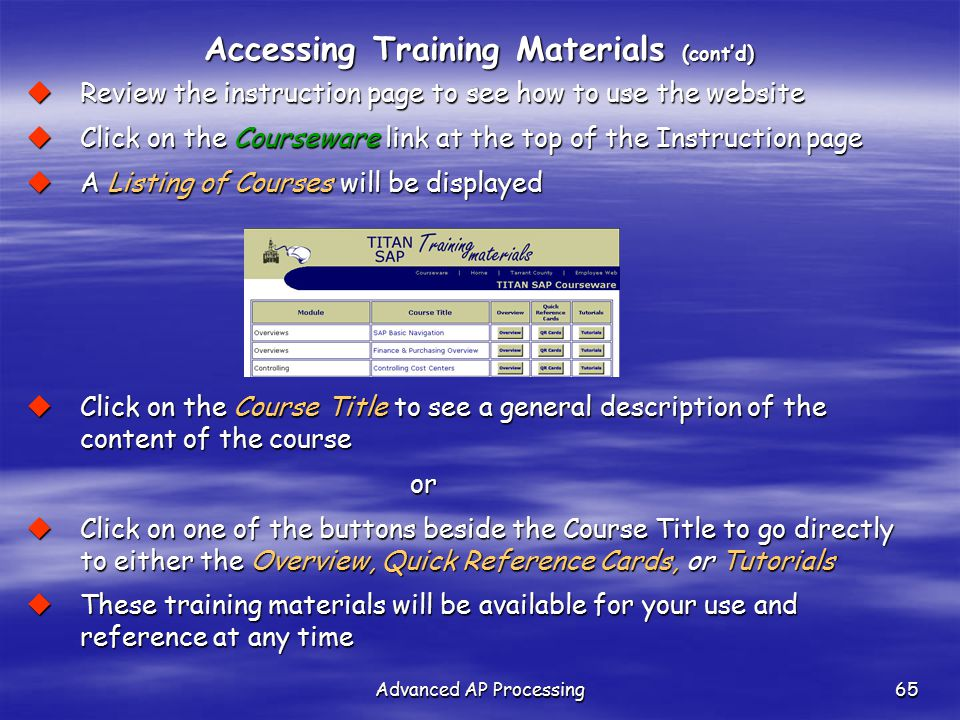 Accessing Training Materials (cont'd)