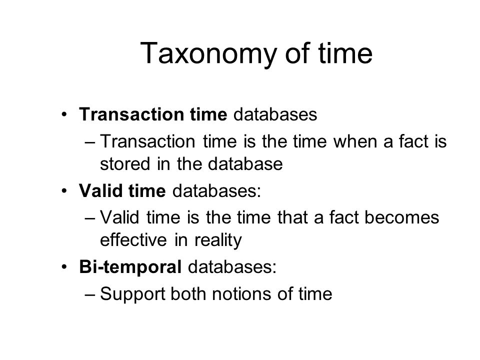 Taxonomy of time Transaction time databases