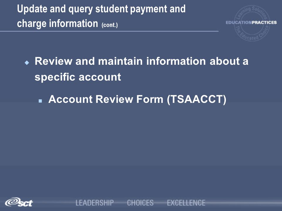 Update and query student payment and charge information (cont.)