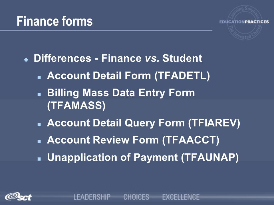 Finance forms Differences - Finance vs. Student
