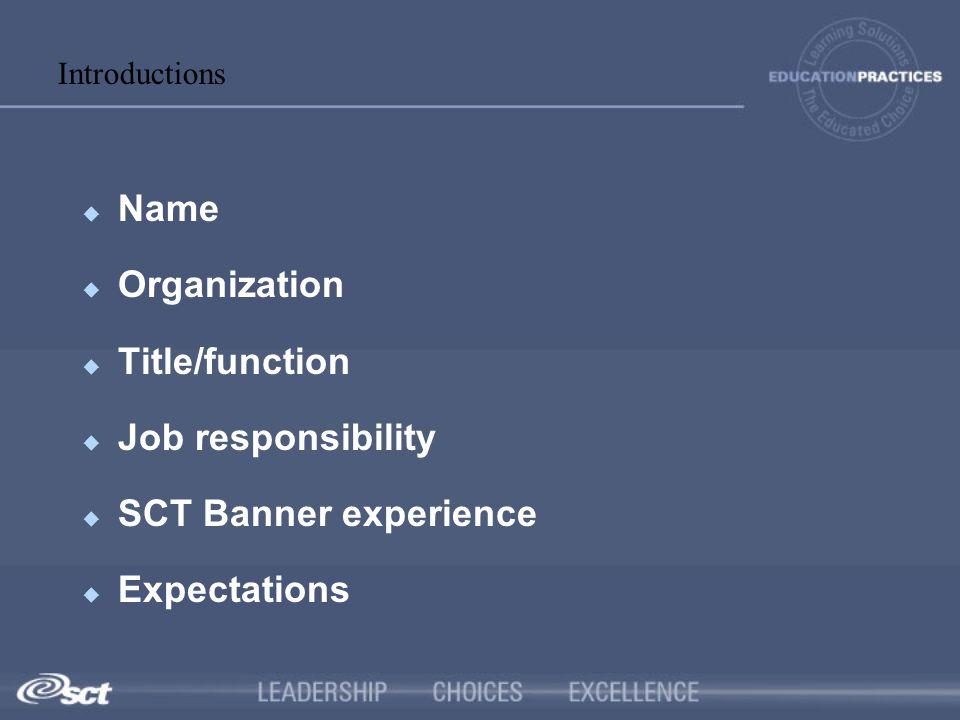 Name Organization Title/function Job responsibility