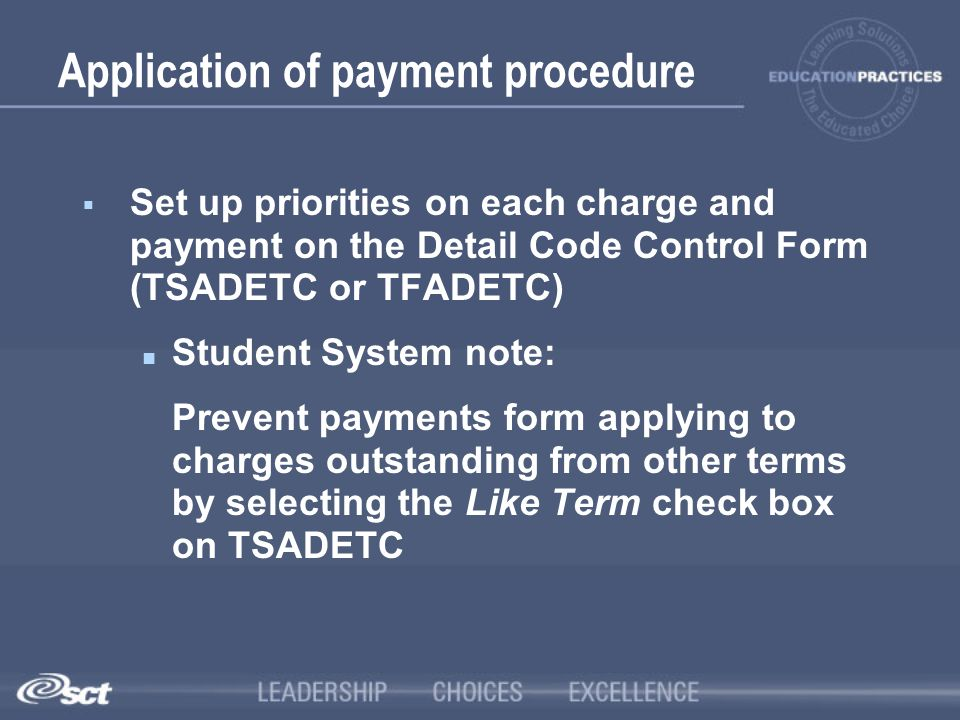 Application of payment procedure