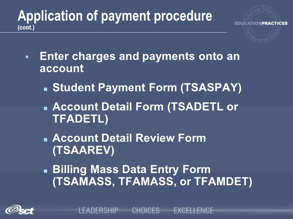 Application of payment procedure (cont.)