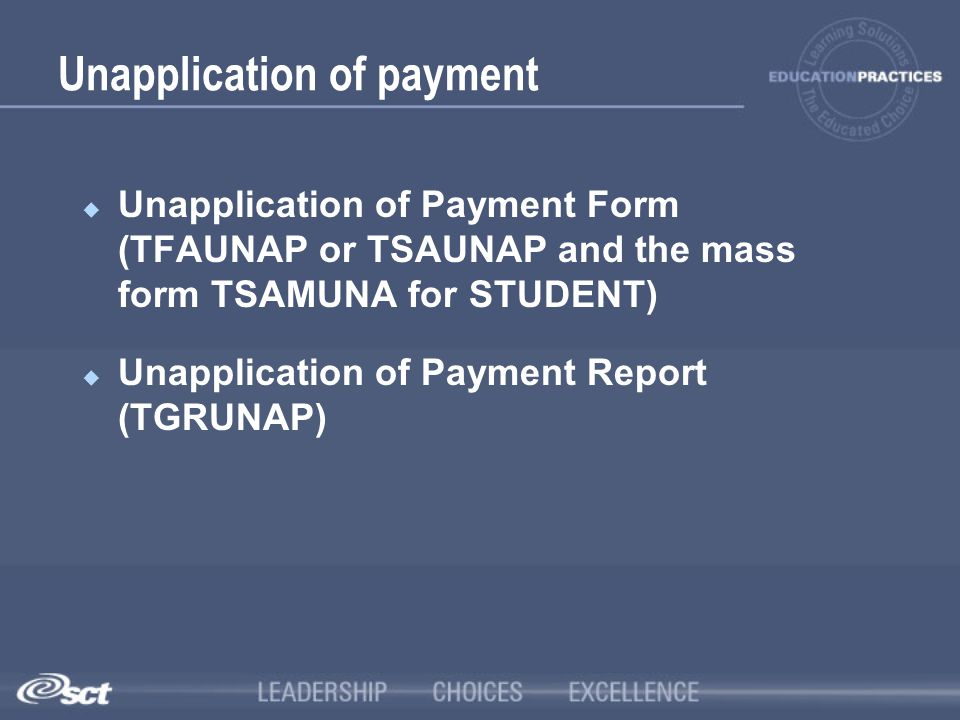 Unapplication of payment