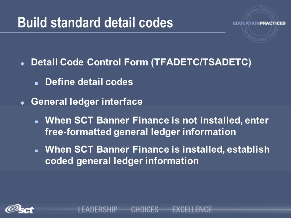 Build standard detail codes