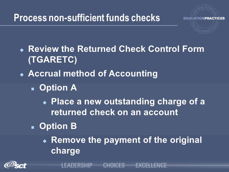 Process non-sufficient funds checks