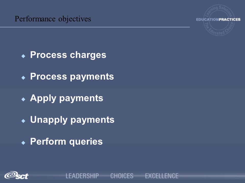 Process charges Process payments Apply payments Unapply payments