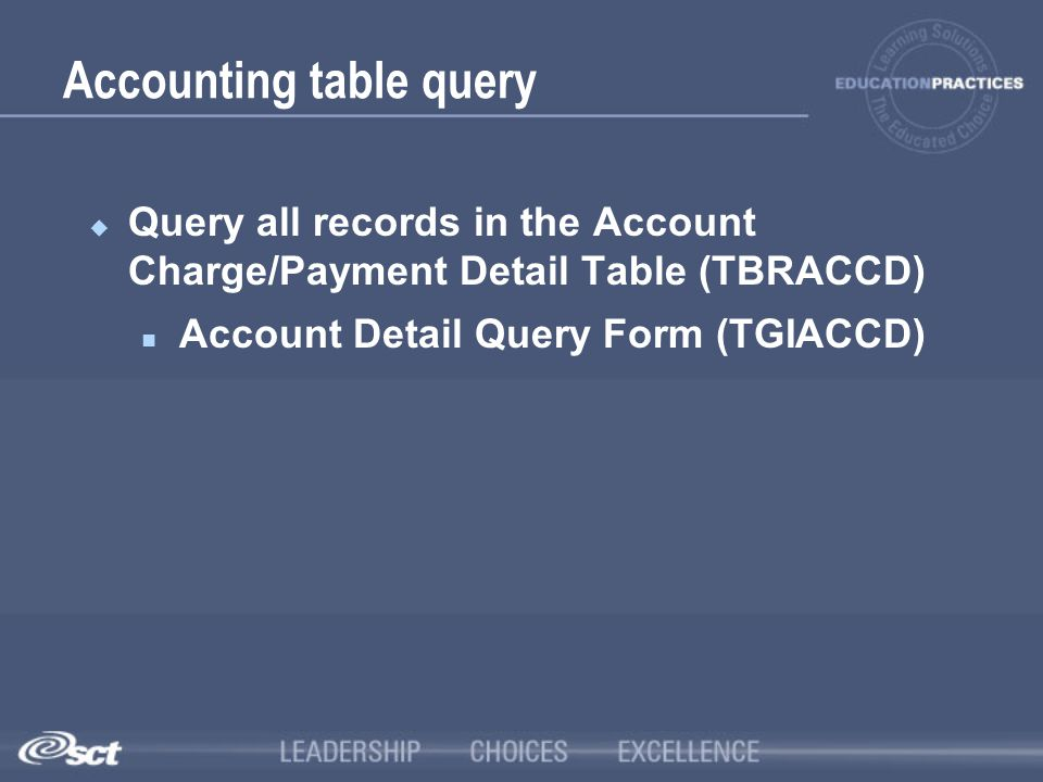 Accounting table query