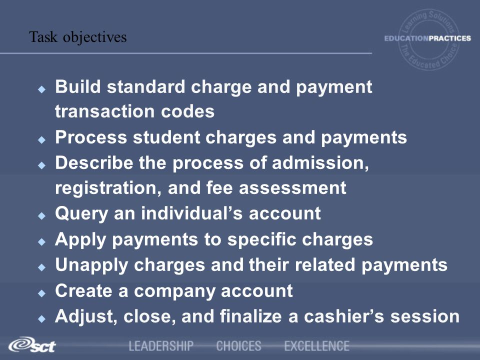 Build standard charge and payment transaction codes