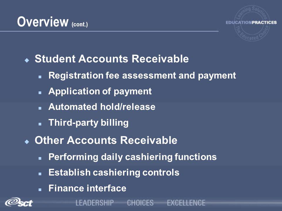 Overview (cont.) Student Accounts Receivable Other Accounts Receivable