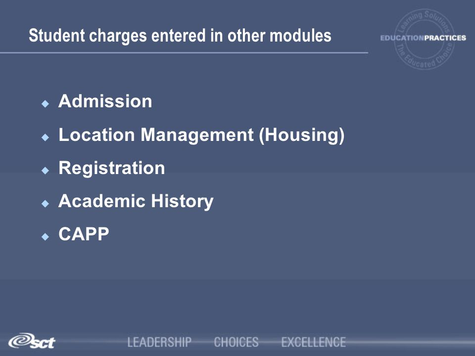 Student charges entered in other modules