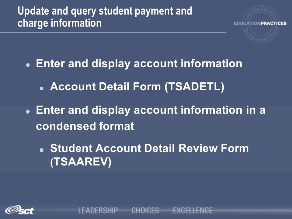 Update and query student payment and charge information