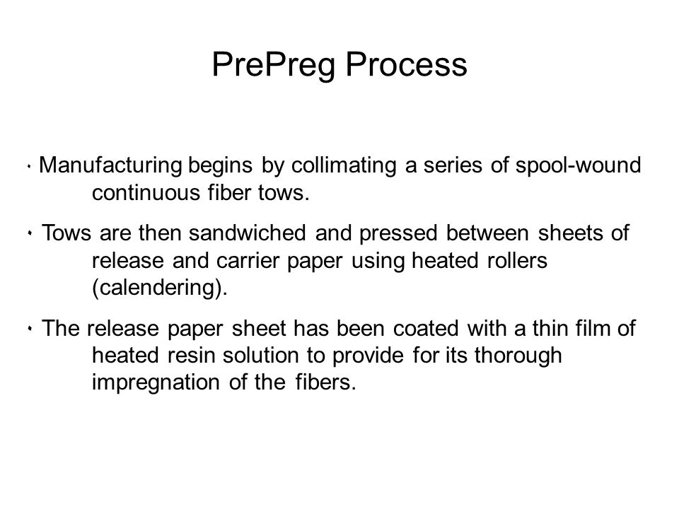 PrePreg Process Manufacturing begins by collimating a series of spool-wound continuous fiber tows.