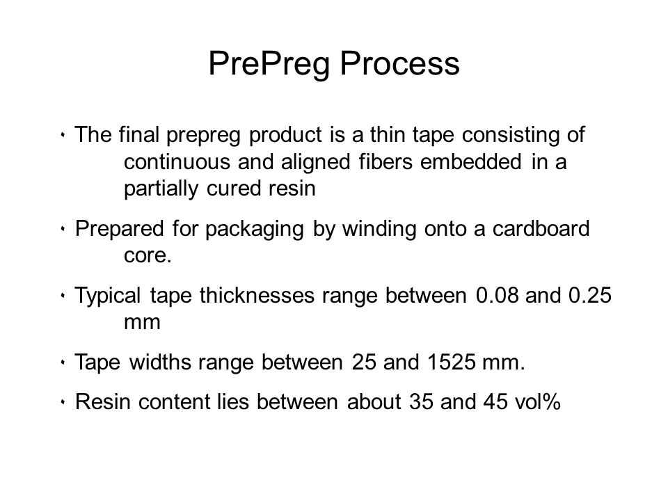 PrePreg Process The final prepreg product is a thin tape consisting of continuous and aligned fibers embedded in a partially cured resin.