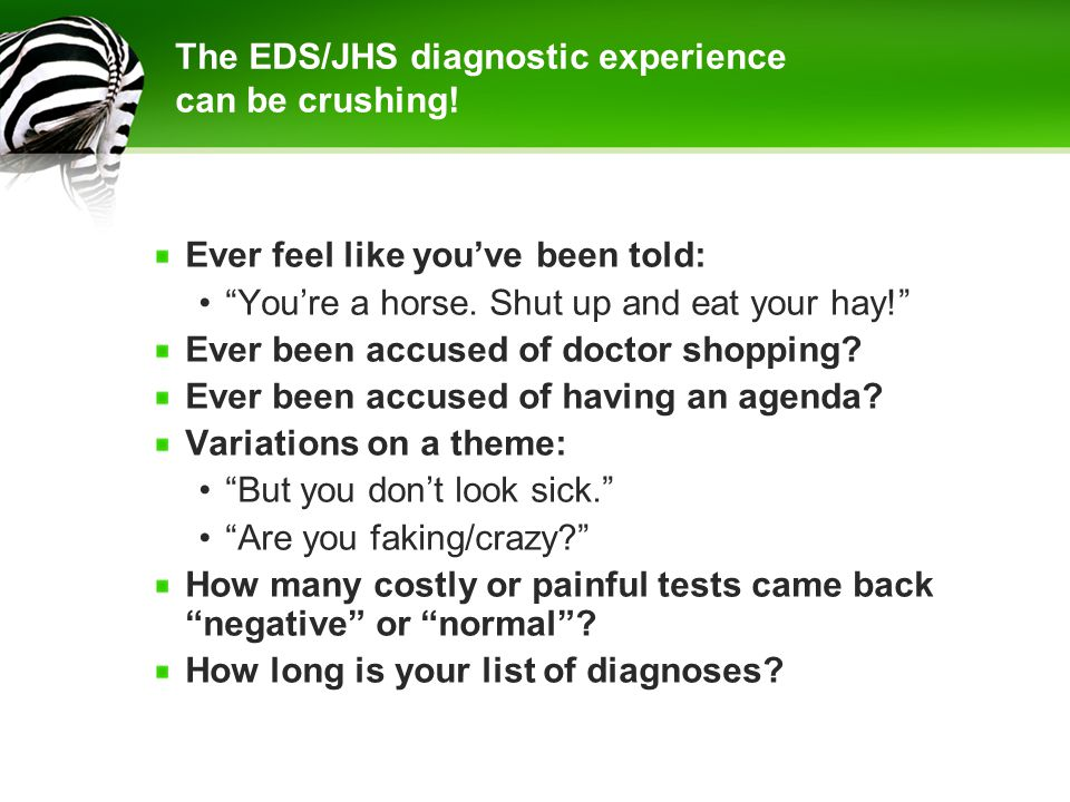 The EDS/JHS diagnostic experience can be crushing!
