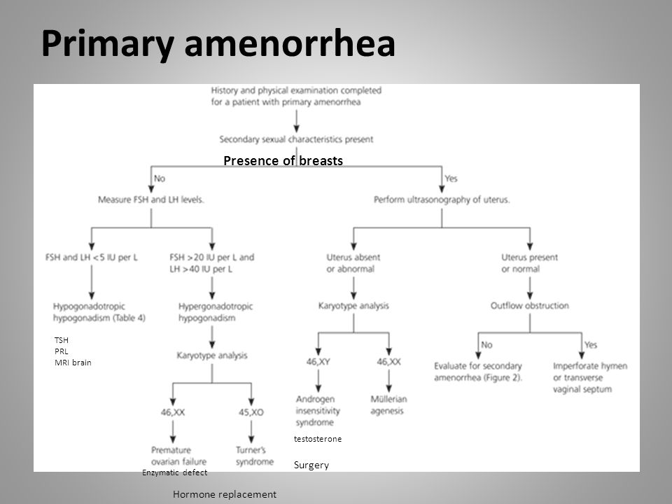 Primary amenorrhea Presence of breasts Surgery Hormone replacement TSH