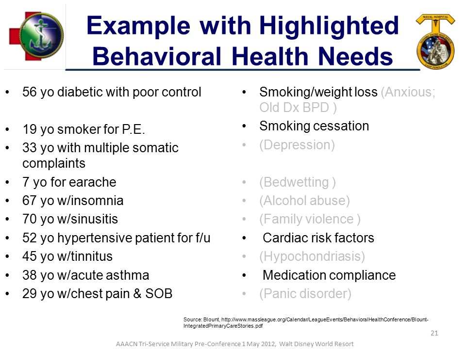 Example with Highlighted Behavioral Health Needs