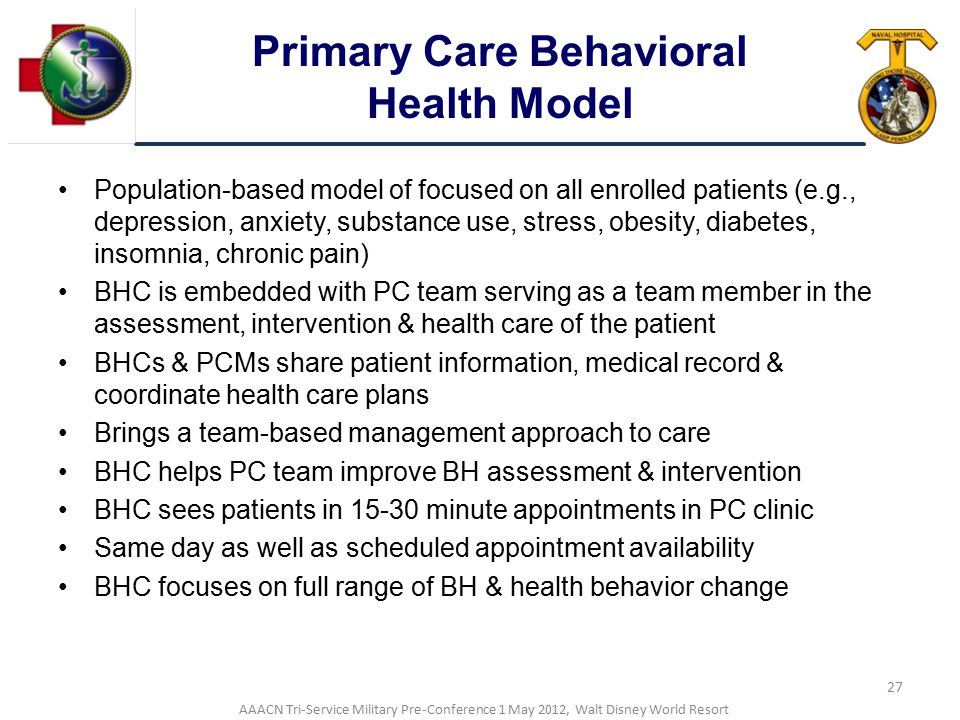 Primary Care Behavioral Health Model
