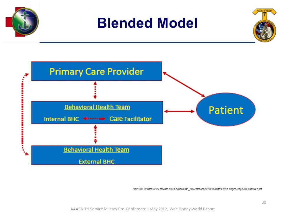 Blended Model From: REHIP https://www.pdhealth.mil/education/2011_Presentations/AFPCH%2011%20Re-Engineering%20Healthcare.pdf.