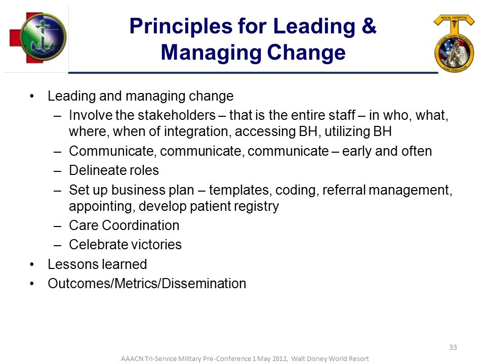 Principles for Leading & Managing Change