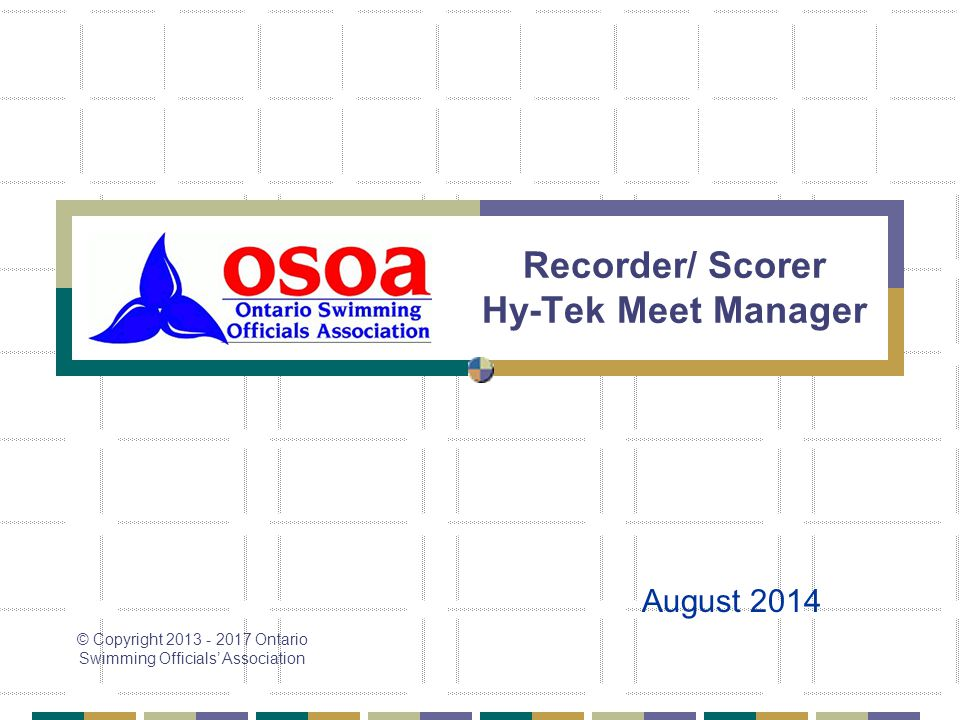 Recorder/ Scorer Hy-Tek Meet Manager