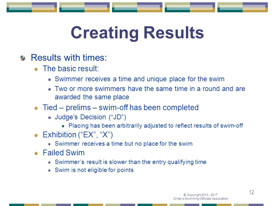 Creating Results Results with times: The basic result: