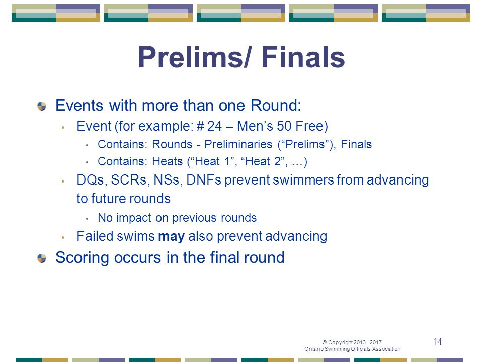Prelims/ Finals Events with more than one Round: