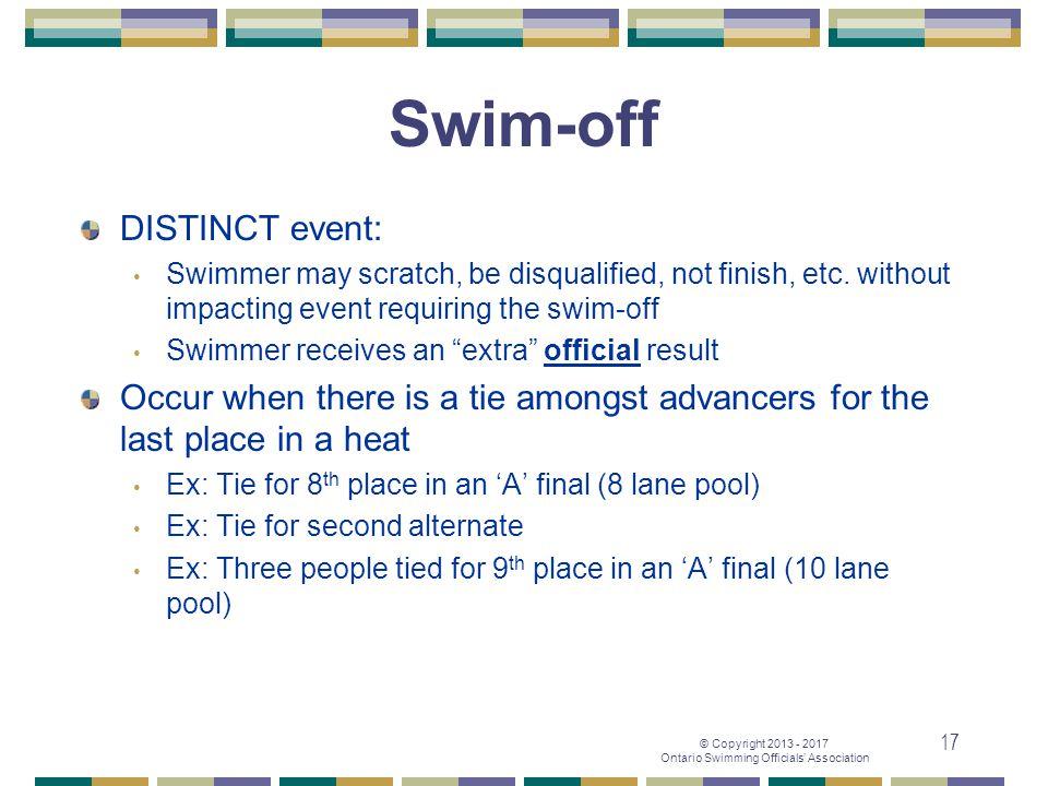 Swim-off DISTINCT event: