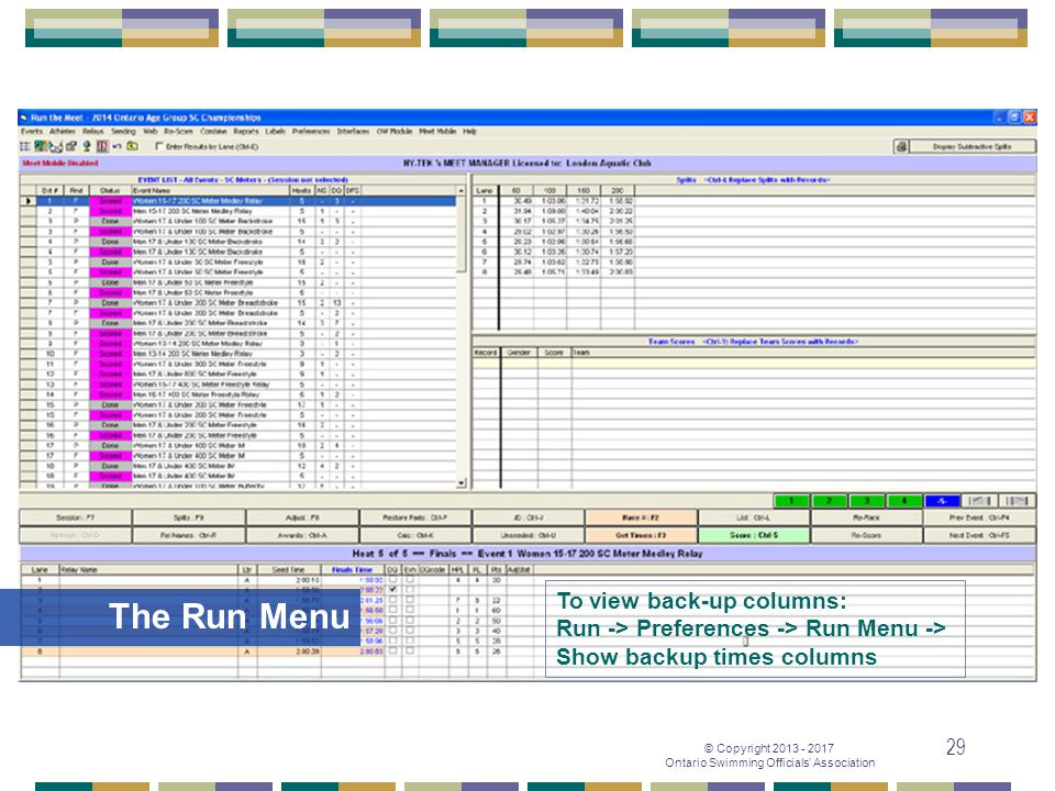 The Run Menu To view back-up columns: