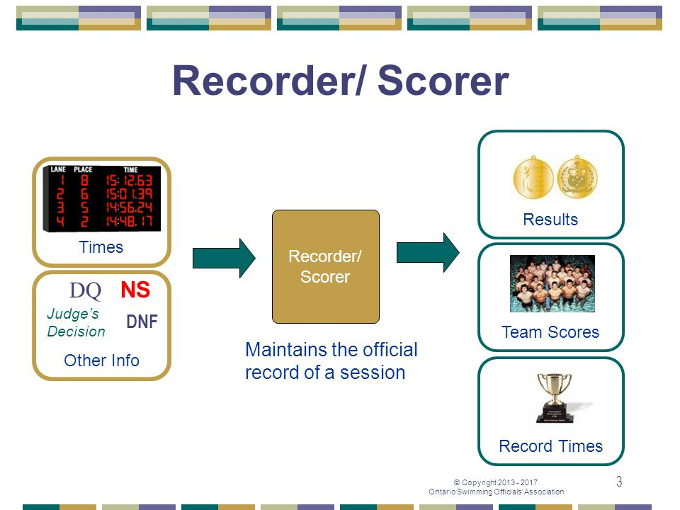 Recorder/ Scorer DQ NS DNF Maintains the official record of a session