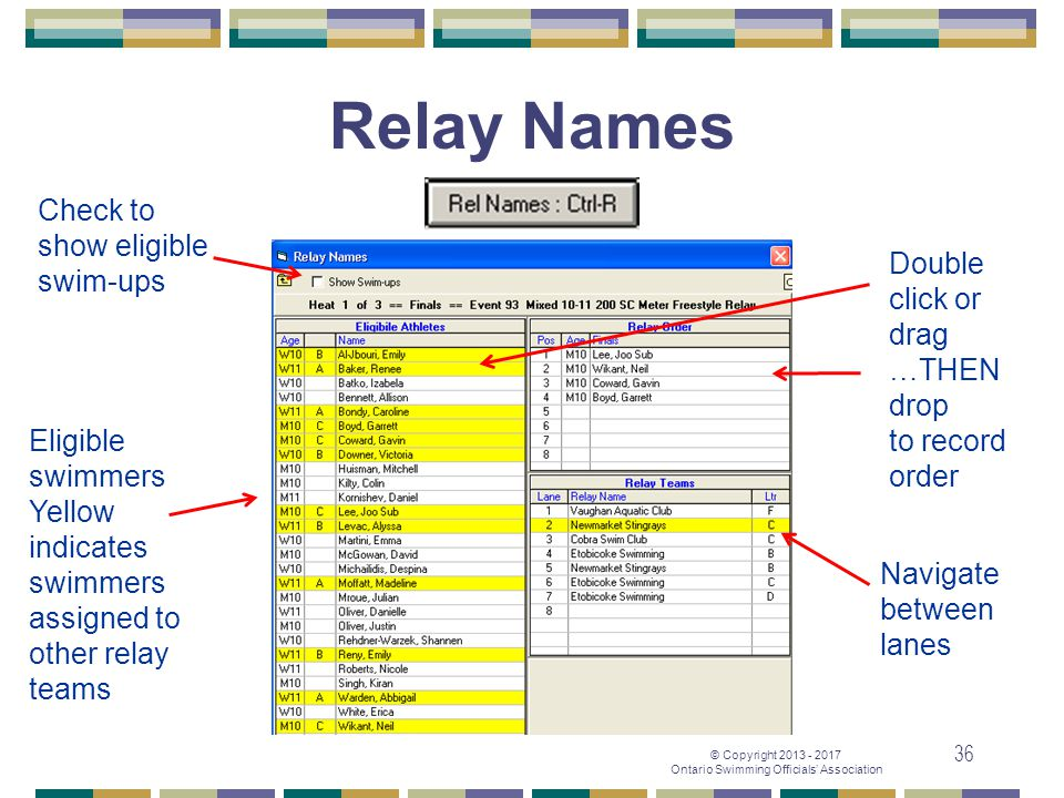 Relay Names Check to show eligible swim-ups