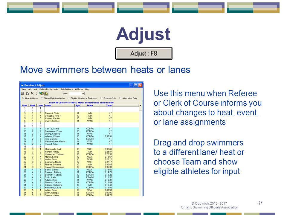Adjust Move swimmers between heats or lanes