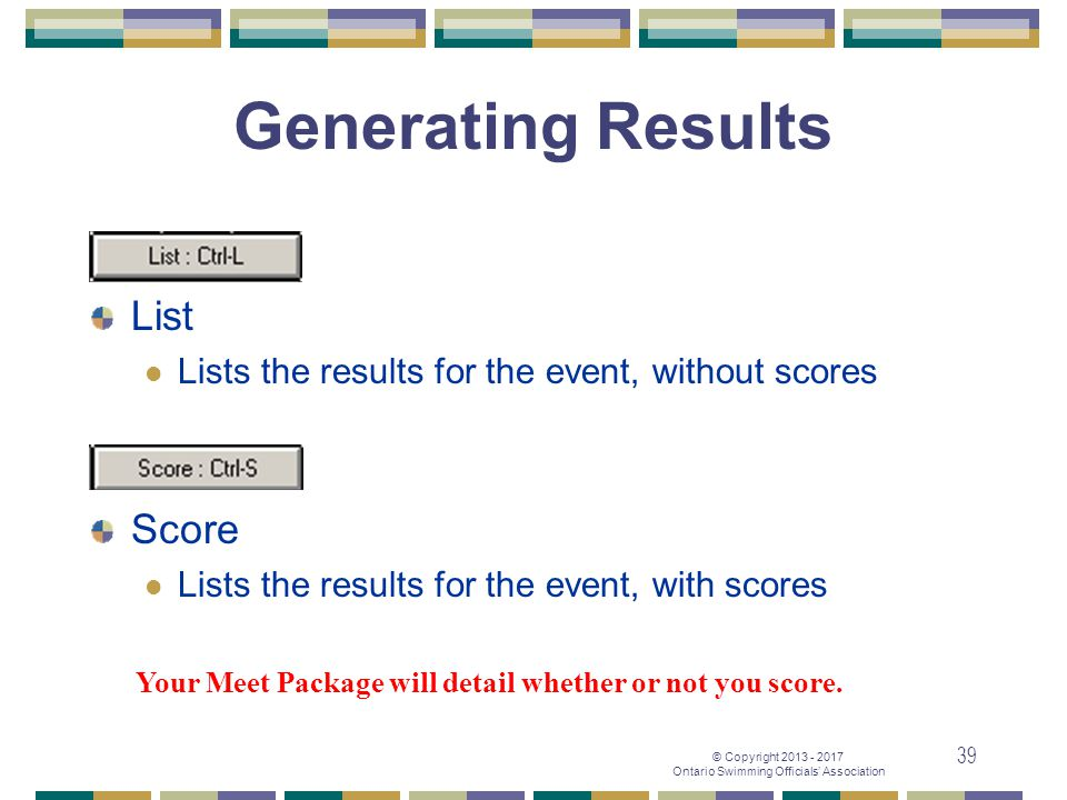 Generating Results List Score