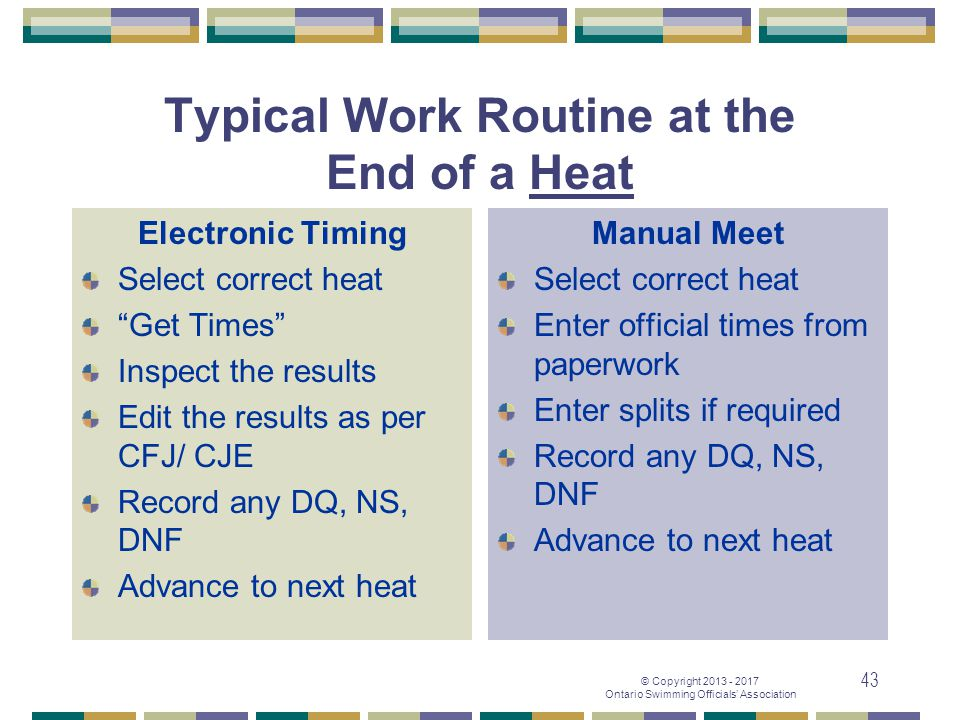 Typical Work Routine at the End of a Heat