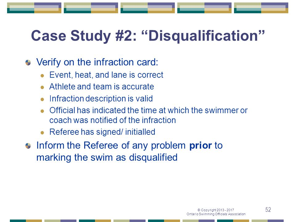 Case Study #2: Disqualification