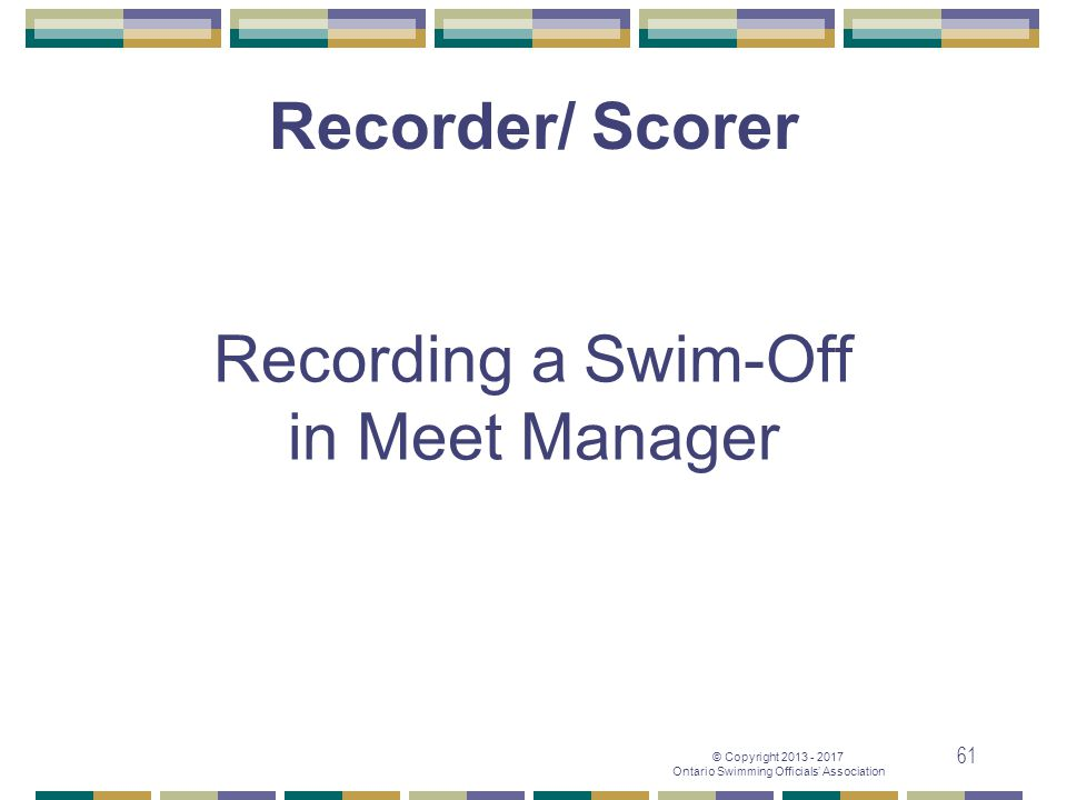 Recording a Swim-Off in Meet Manager